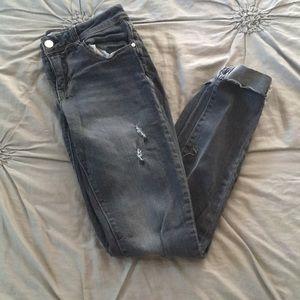 Ivy + Main Distressed Gray Skinny Denim Jeans